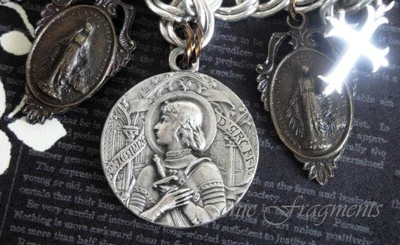 JOAN OF ARC Sterling Silver Bracelet. Antique French Ste Jeanne D'Arc Religious Medal. Vintage Renaissance Assemblage