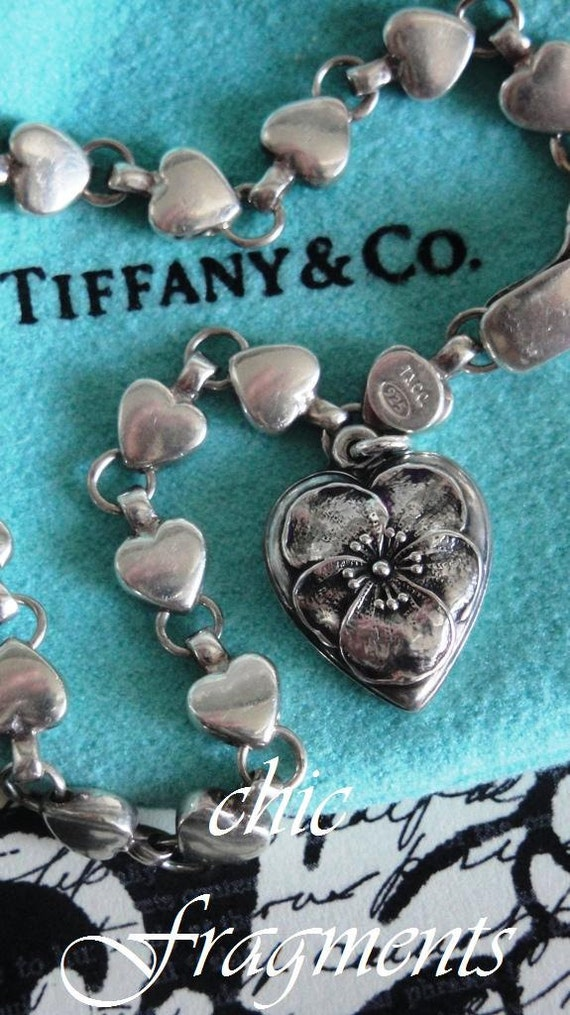RESERVED For Amanda - Vintage Estate TIFFANY & CO. Chain Of Hearts Bracelet. Pansy Heart Charm From The 1940's. All Sterling Silver