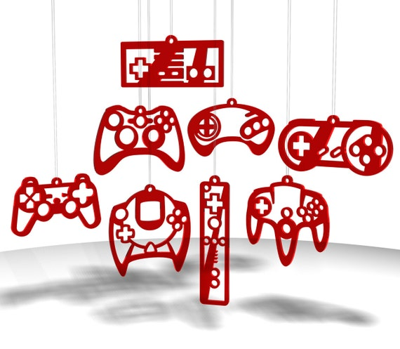 Video Game Controller ornaments - Red tint acrylic