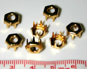 20 Gold Brass Hexagon Shaped Nailheads