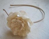 Off White Ivory Peony Flower On Light Beige Headband