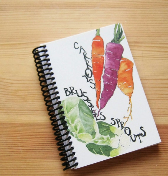 Notebook, Carrots and Brussel Sprouts, 4 x 6 inches, blank pages, foodie gardener gift