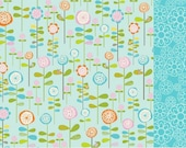 Flower Garden in Blue - Kindermat Cover with Handle and Strap - Nap Mat Cover