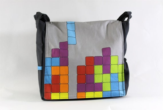 Tetris Messenger Bag - Original Fabric Design