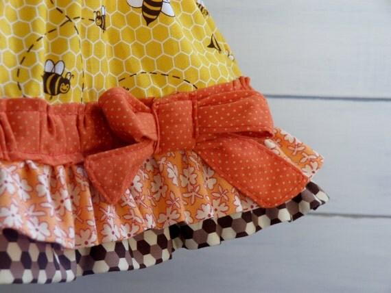 Bee Skirt - Ruffled Toddler Twirl Skirt - 12m, 18m, 2T, 3T, 4T, 5, 6