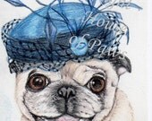 Miss Lacy   Pugs in Hats signed ACEO art card print