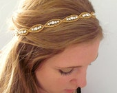 The Natalie II - Silver Rhinestone and Gold Beaded Tie Headband or Halo