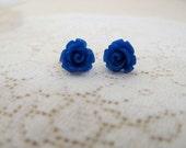 Tiny Royal Blue Rosebud Stud Earrings