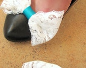 Vintage White and Turquoise Lace Bow Shoe Clips