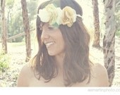 Mustard and Cream Flower Halo or Headband - Bridal or Special Occasion