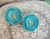 Bright Turquoise Flower Hairpins