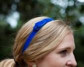 Velvet Skinny Bow Stretch Headband - Cobalt Blue, Gold, Emerald, Black, Silver, or Garnet Red