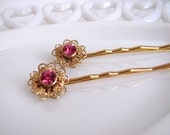 Sale: 40% off - Sparkling Gold and Pink Vintage Jewel Hairpin Set