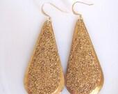 Teardrop Gold Sparkle Drop Earrings