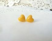 Just-Right Sized Dark Yellow Heart Stud Earrings