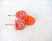 Tangerine & Salmon - Set of 3 Flower Bobby Pins