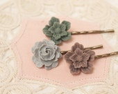Lovely Neutral Blooms  - Set of Three Flower Hairpins