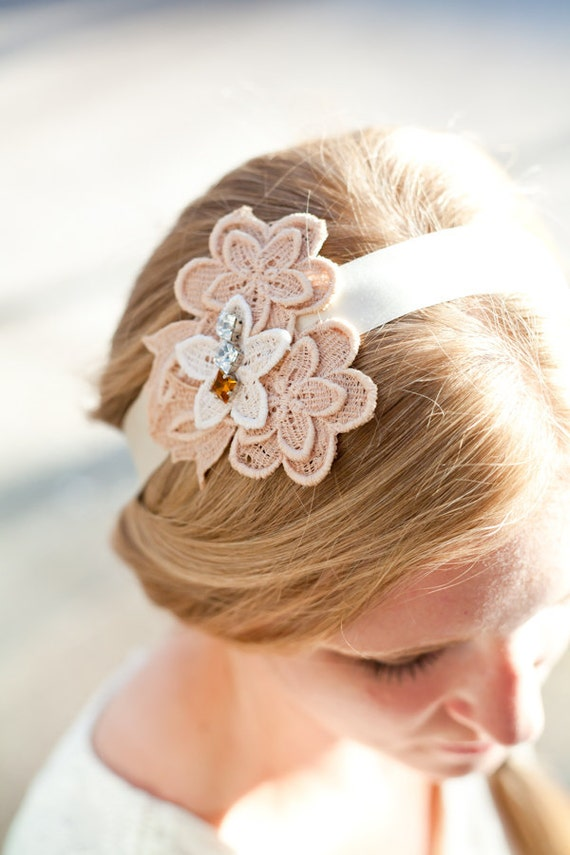 Vintage Flower and Swarovski Crystal Tie Headband or Halo