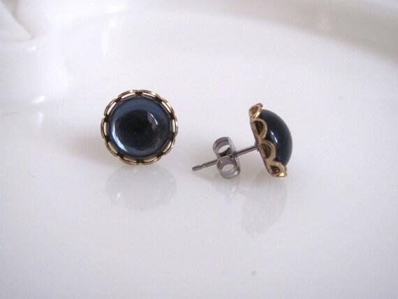 Vintage Dark Blue Stone Stud Earrings