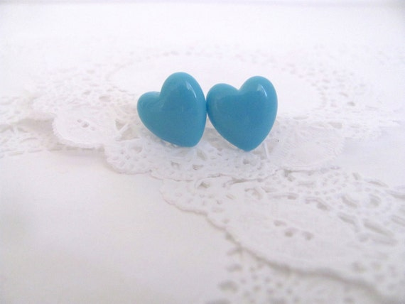 Sale: 40% off - Over-Sized Pale Blue Heart Stud Earrings