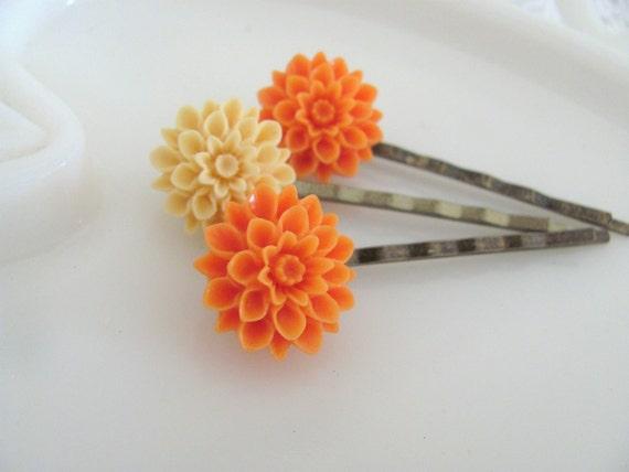 Tangerine and Cream - Set of Three Dahlia Flower Hairpins