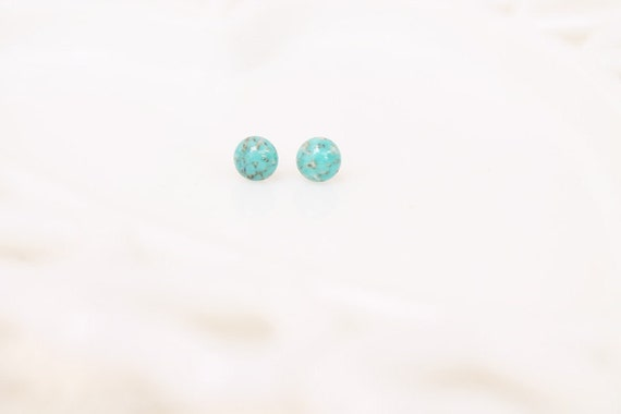 Tiny Vintage Turquoise Stone Stud Earrings