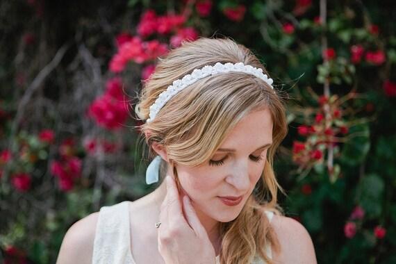 Something Blue.... Pearl Beaded Bridal Tie Headband or Halo, wedding