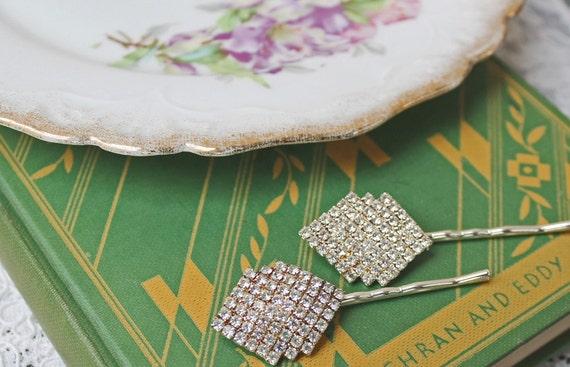 Sparkling Art Deco Rhinestone Hairpins