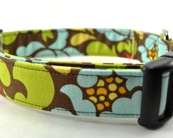 Brown and Green Floral Dog Collar - The Bella
