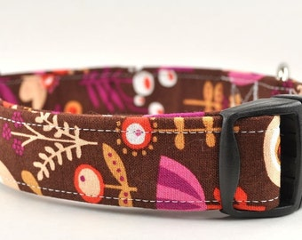 Brown Floral Dog Collar - The Scooby