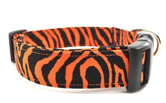 Orange and Black Striped Dog Collar - The Tiger