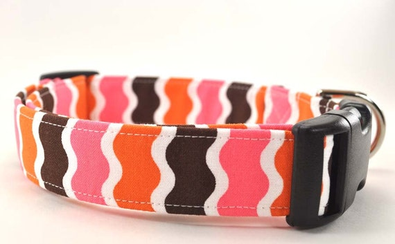 Tangerine and Brown Striped Dog Collar - The Ziggy