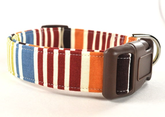 Striped Dog Collar - The Brown and Blue Stripe