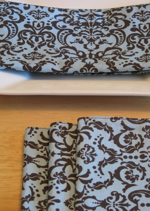 Custom order - Stacey Blue and Brown Damask Set of 8