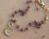 Amethyst lotus gold charm bracelet February birthstone