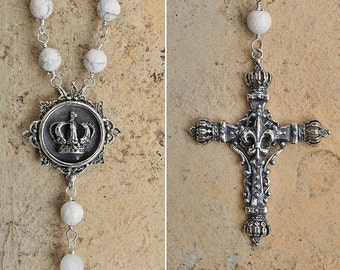 white crown fleur de lis cross rosary