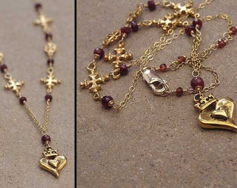 Gold filled Valentine heart crown necklace with ruby accents July Birthstone