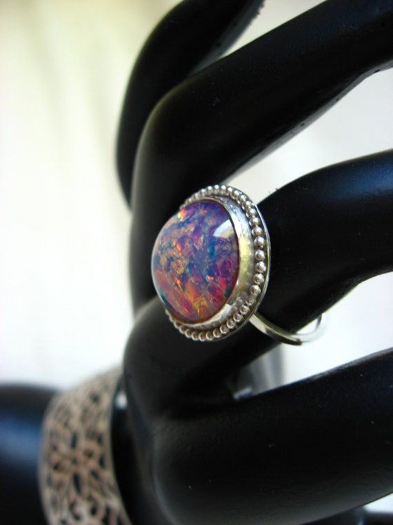 Harlequin opal ring in sterling with beaded wire detail