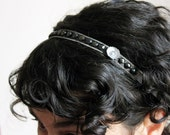 Louise headband - Gunmetal, gray and black faceted beads and metal flower on dove gray suede ribbon