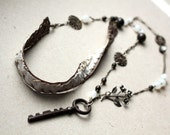 Key necklace - assemblage lariat - mixed media, repurposed, tribal boho victorian inspired sautoir