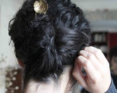 Golden flower hair fork handmade brass flower kanzashi or pin shawl