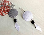 Snakeskin earrings metal textured black dangle tribal inspired earrings