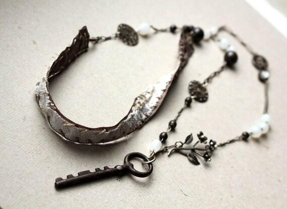 Key necklace - assemblage lariat - mixed media, repurposed, tribal boho victorian inspired sautoir