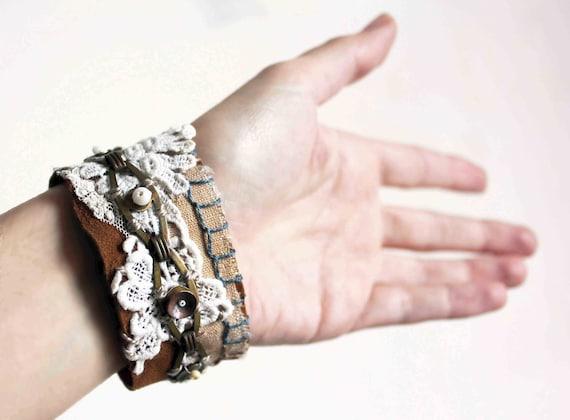 Gitane a cuff - unique leather brass lace embroidered - cream camel blue off white bobo bracelet
