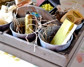Wooden Trug with Galvanized Pots
