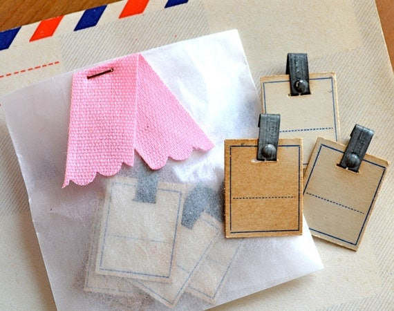 Vintage Pricing Tags with Metal Clasp
