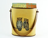 Vintage Owl Tote with Leather Handle