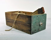Vintage Rustic Wood Drawer / Industrial Storage / Wooden Box