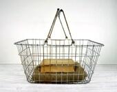 Vintage Industrial Metal Market Basket / Wire Basket