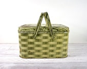 Vintage Tin Picnic Basket / Faux Bois Wicker Basket